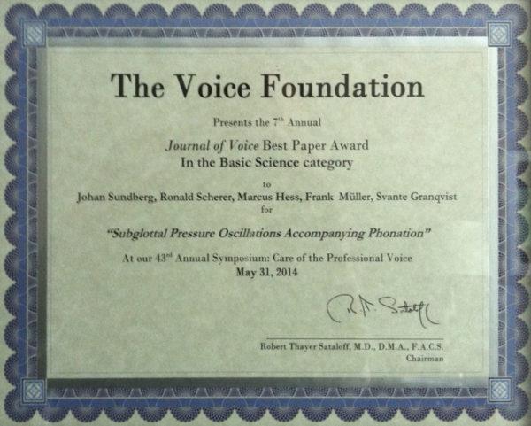 Award Voice Foundation Best-paper
