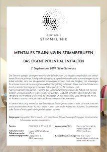Poster Veranstaltung Silke Schwarz Mentales Training in Stimmberufen